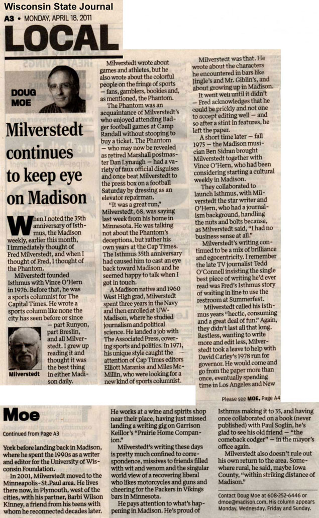WSJ article by Moe on Fred Milverstedt